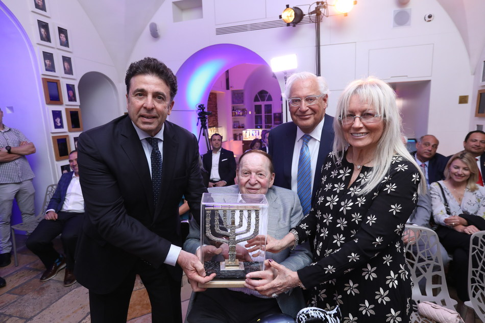 Dr. Miriam & Sheldon Adelson Receive the Friends Of Zion Award (Photo Credit: Shlomi Cohen)