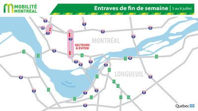 Carte générale des fermetures 5 juillet (Groupe CNW/Ministère des Transports)