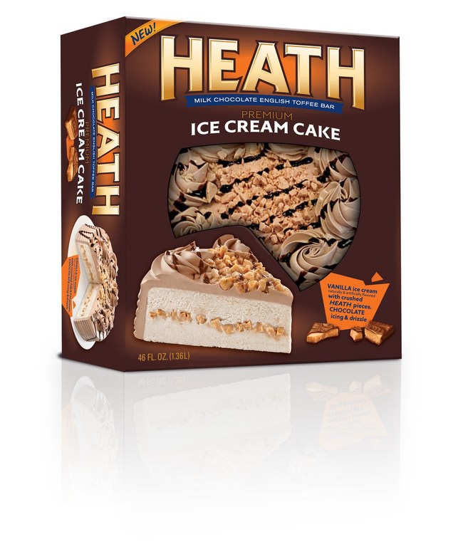 The NEW Heath Ice Cream Cake is now available in grocery stores for National Ice Cream Month. The dessert features crushed pieces of real HEATH Milk Chocolate English Toffee Bar layered between smooth vanilla ice cream, and is finished with chocolate whipped icing and HERSHEY'S chocolate syrup drizzle.