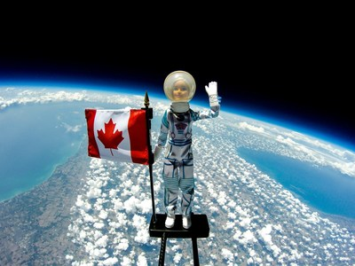 A Barbie Astronaut Doll reached new heights as she was launched to space on Friday, July 5, 2019 in London, Ontario. The launch was held in partnership with STEM Camp and was designed to inspire a new generation of girls, who will pursue STEM careers, to reach their limitless potential. #YouCanBeAnything (CNW Group/Mattel Canada, Inc.)