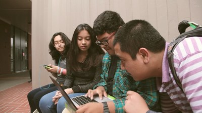 Students learning with tech