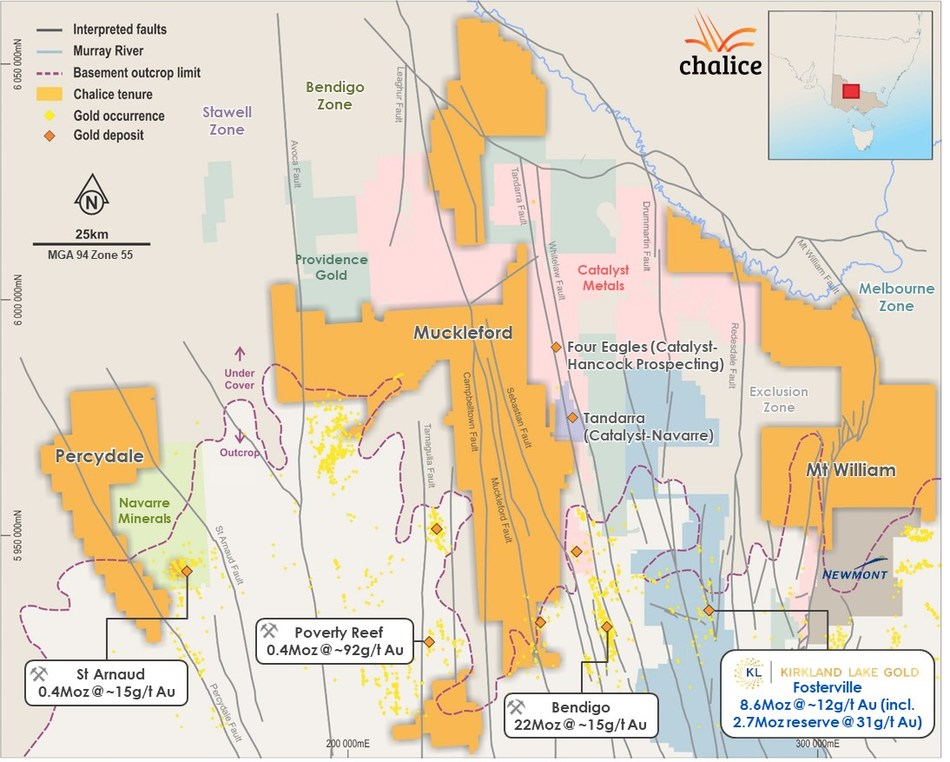 Figure 7. Pyramid Hill Gold Project tenure, regional land holders, gold deposits and occurrences. (CNW Group/Chalice Gold Mines Limited)
