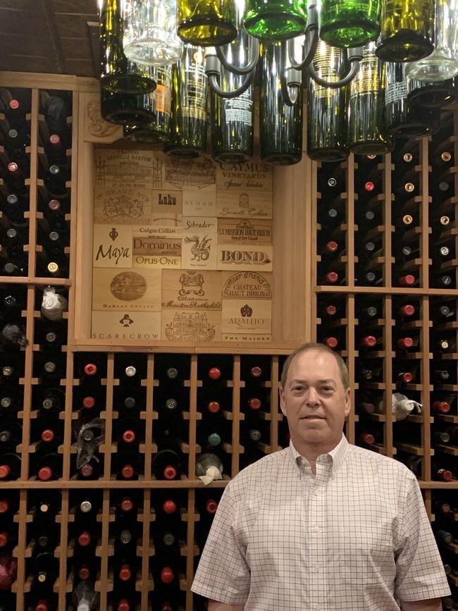 Barry Baum and his Custom Wine Cellar