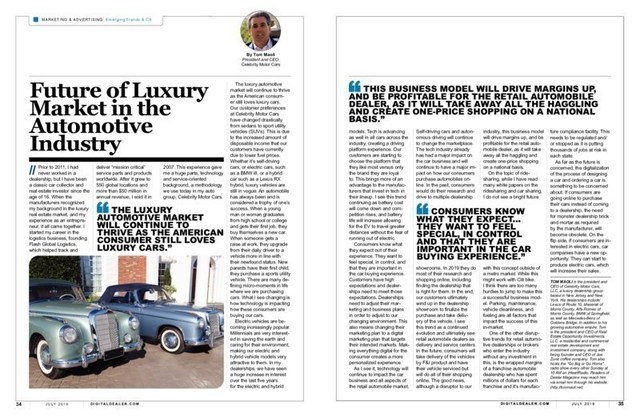 Tom Maoli featured in July's issue of Dealer Magazine