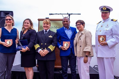 (L - R) Collette Wilson, Deputy Consul General, British Consulate Los Angeles; Cantor Sara Hass, Temple Beth Israel Long Beach; Captain Inger Thorhauge, Master, MS Queen Elizabeth; John Jenkins, Former General Manager, The Queen Mary Hotel; Jackie Chase, PR Director, Cunard North America; Commodore Everette Hoard, The Queen Mary Hotel during the ceremony that officially opened The Cunard Story exhibition onboard The Queen Mary Hotel on Friday, July 5, 2019 in Long Beach, Calif.