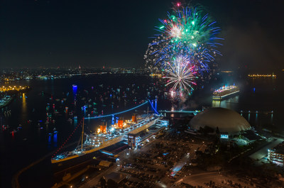 Cunard's MS Queen Elizabeth meets The Queen Mary in Long Beach, Calif. for fireworks on Thursday, July 4, 2019. (Photo Credit: Brian Hawkins for The Queen Mary)