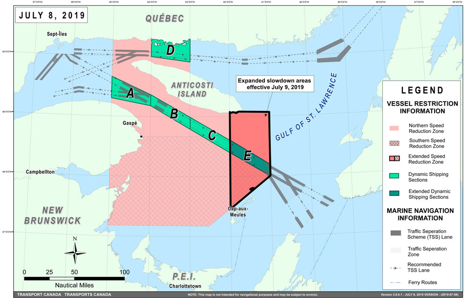 Figure – Map of the Gulf of Saint Lawrence with additional measures to protect the North Atlantic Right whales. The mandatory slowdown zone has been divided into northern and southern zones; and the current slowdown zone has been expanded further east, beyond the Magdalen Islands and closer to Cabot Strait. (CNW Group/Transport Canada)