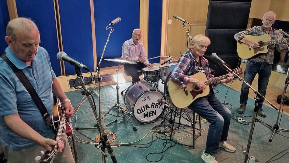 The Quarry Men recording at Abbey Road Studios. From left:  Chas Newby, Colin Hanton, Len Garry and Rod Davis. (PRNewsfoto/PreFab Four Productions, LLC)