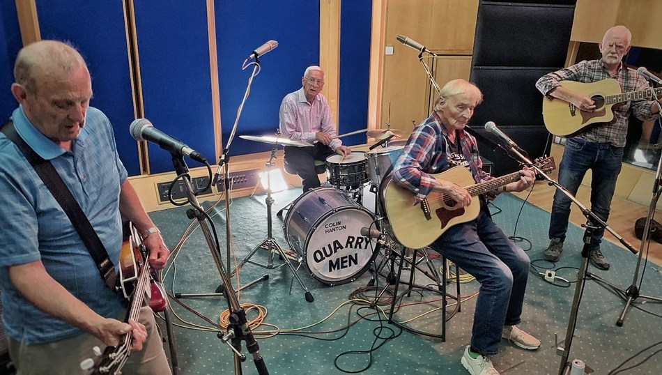 The Quarry Men recording at Abbey Road Studios. From left:  Chas Newby, Colin Hanton, Len Garry and Rod Davis.