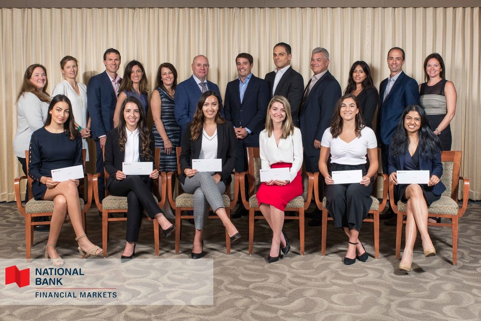 Denis Girouard (6th from the left) and Laurent Ferreira (5th from the right), Executive Vice-Presidents and Co-Heads – Financial Markets at National Bank, with members of their team and the six winners of the 10th edition of the Women in Financial Markets Internship Program, seated from left to right: Melissa Khirdine, Jordan Shema, Alysaa Co, Koralie Levac-Séguin, Véronique Dagenais, Shivani Pradhan. (CNW Group/National Bank of Canada)