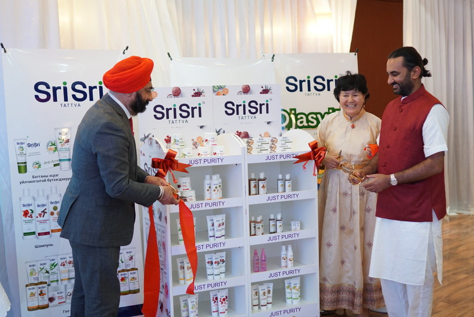 Products launched by H.E. MP Singh, Indian Ambassador to Mongolia, Mr Arvind Varchaswi, Managing Director Sri Sri Tattva and Ms Altantsetseg Mishig, Master Distributor of Sri Sri Tattva in Mongolia