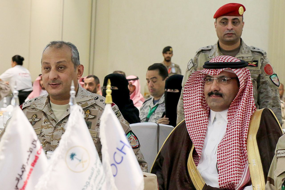 Maj.-Gen. Prince Fahad bin Turki bin Abdul Aziz Al Saud, Commander of the Joint Forces Command (JFC) of the Saudi-led Coalition to Restore Legitimacy in Yemen (L) with Saudi Ambassador to Yemen Mohammed bin Saeed Al Jaber (R) at the JFC Humanitarian Operations Workshop in Riyadh, Saudi Arabia, on 8 July 2019