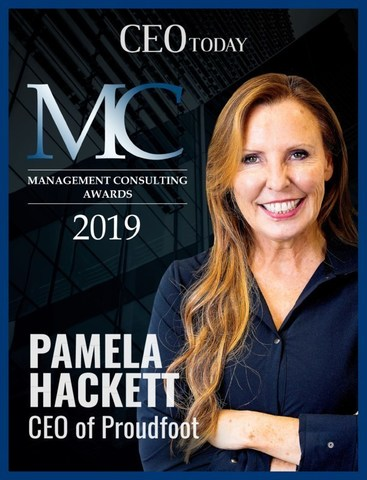 CEO Today 2019 Management Consulting Awards cover.  Pamela Hackett, CEO, Proudfoot. (CNW Group/Proudfoot)