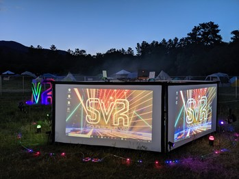 The expanded SVR stage has the increased capability of entertaining up to 4 participants at once while onlookers are treated to in-game play on the big screens surrounding the DJ position.