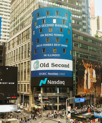 Old Second National Bank was recognized on the Nasdaq Tower in Times Square for being named a Best Bank in Illinois according to a survey by Forbes partnering with Statista. (from Mon. July 8, 2019)