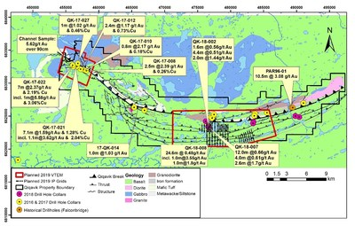 Figure 2: 2016-2018 Significant Drilling Results and Planned Geophysical Survey Coverage Area on the Qiqavik Property(2) (CNW Group/Orford Mining Corporation)