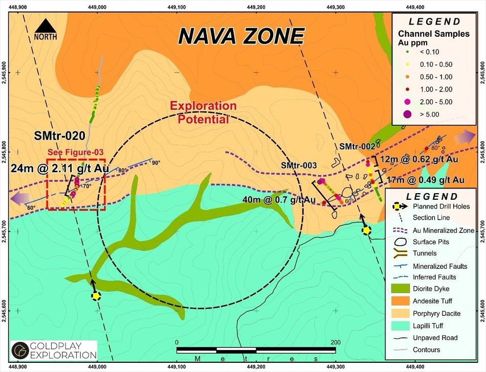 Figure 2 Nava Zone – Trench Locations and Exploration Potential (CNW Group/Goldplay Exploration Ltd)