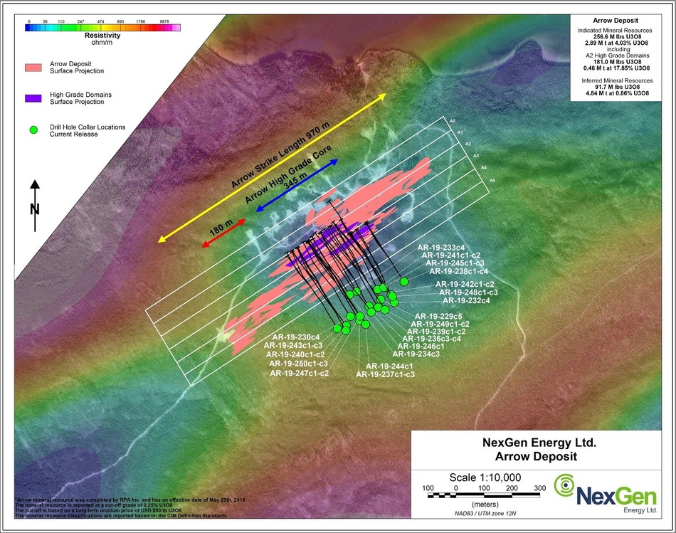 Figure 1: Arrow Deposit Drill Hole Locations (CNW Group/NexGen Energy Ltd.)