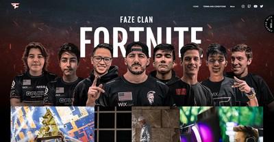 FaZe Clan's new website powered by Wix
