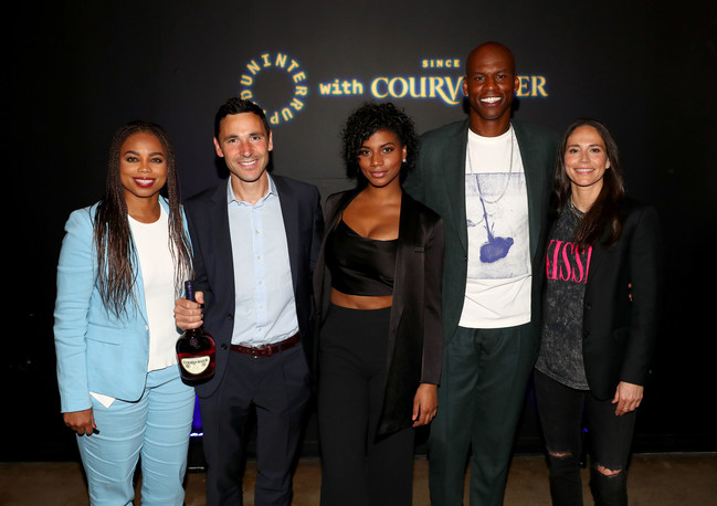 """(Left to right) Jemele Hill; Benoît De Sutter, Master Distiller at Courvoisier; Taylor Rooks; Al Harrington and Sue Bird attend """"UNINTERRUPTED Live: The Day Ones,"""" a first-of-its-kind, live athlete storytelling partnership between Courvoisier Cognac and Uninterrupted. As part of the collaboration, Courvoisier and UNINTERRUPTED empowered athletes to toast to their """"day ones,"""" the individuals who have played an instrumental role in their journey to success."""