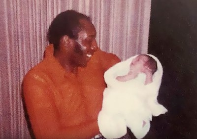 Late Hall of Famer Willie McCovey Holding VIDSIG Founder and His Godson Jeff Dudum