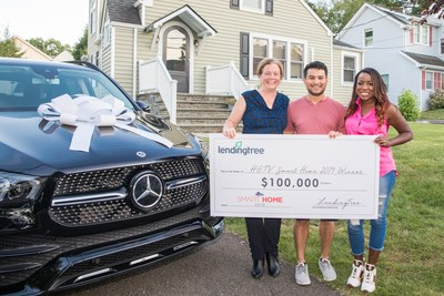 Maureen Rustrian (left) was surprised at her New Jersey home by HGTV host and designer Tiffany Brooks (right) with the news that she is the winner of the HGTV Smart Home Giveaway 2019, valued at more than $1.2 million. Rustrian's name was randomly drawn from 97 million entries in the sweepstakes. Her winnings include the HGTV Smart Home 2019 and all its furnishings, a 2020 Mercedes-Benz GLE and $100,000 from LendingTree. (Also pictured center: Rustrian's husband, Miguel.)