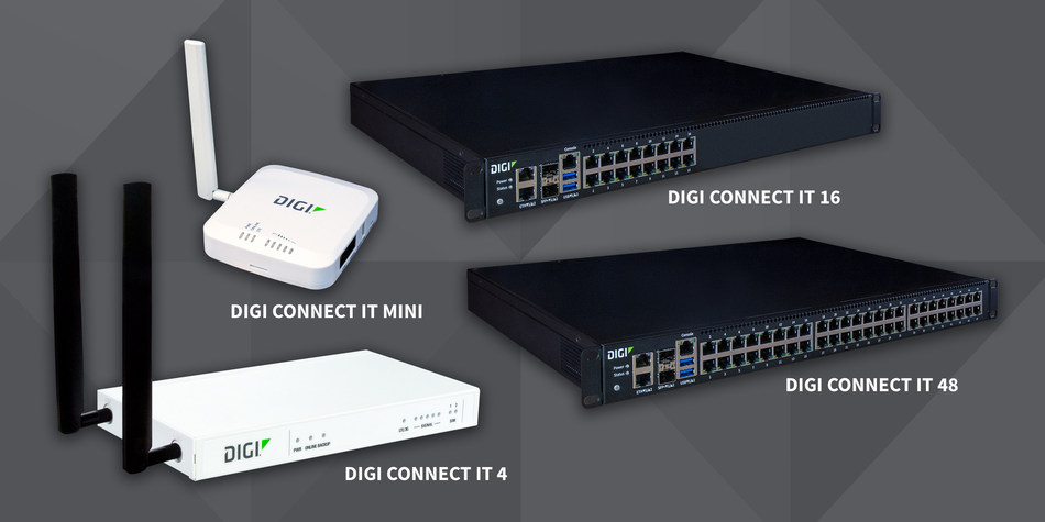 Digi Connect® IT serial consoles: Digi Connect IT Mini, Digi Connect IT 4, Digi Connect IT 16 and Digi Connect IT 48.