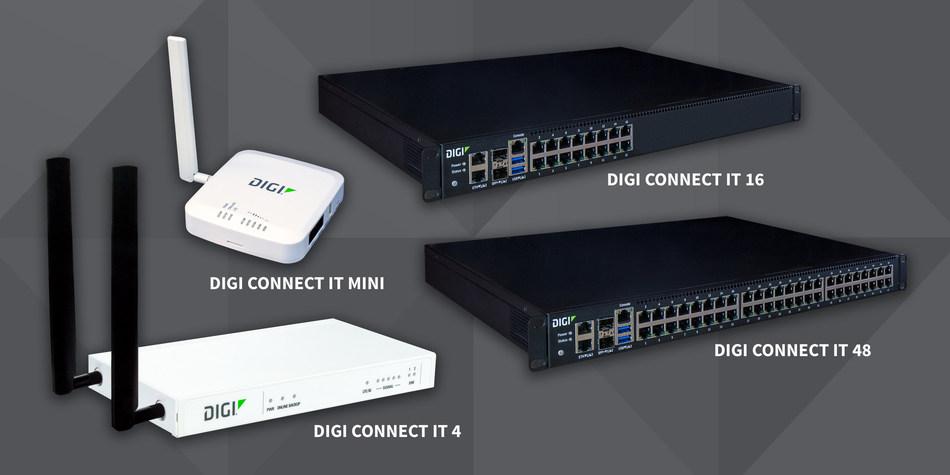 Consolas en serie Digi Connect® IT: Digi Connect IT Mini, Digi Connect IT 4, Digi Connect IT 16 y Digi Connect IT 48.