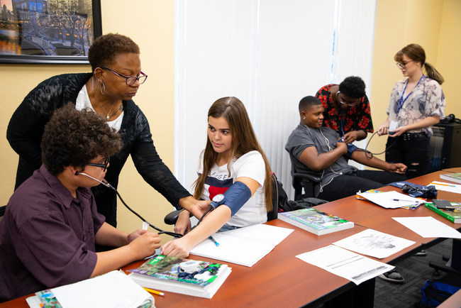 Learn4Life students take an EMT training course while earning credits toward a high school diploma.