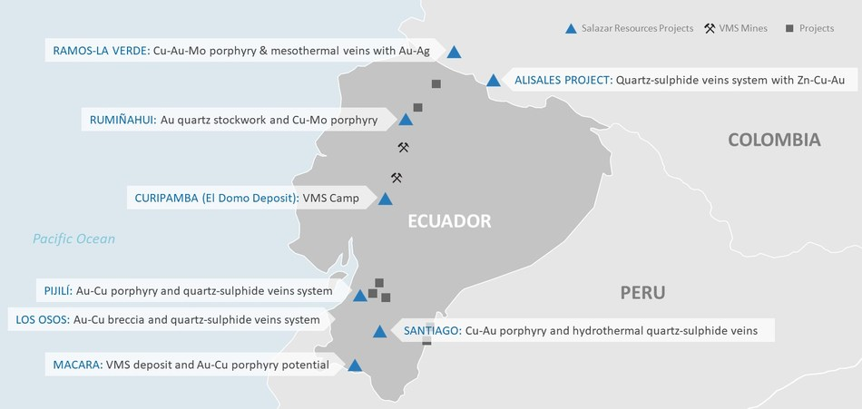Figure 1. Salazar Resources Project Locations, Ecuador and Colombia (CNW Group/Salazar Resources Limited)