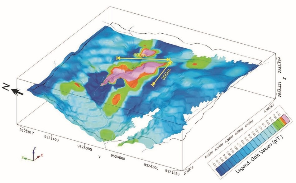 Figure 2. 3D map of gold in soils, highlighting a robust geochemical anomaly at Macara, Ecuador (CNW Group/Salazar Resources Limited)