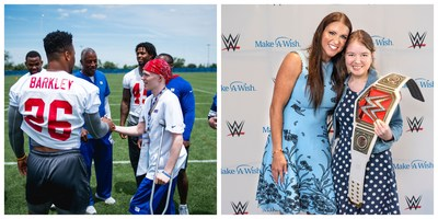 George with 2018 Rookie of the Year Saquon Barkley of the New York Giants (left). Rhianna with WWE® Chief Brand Officer Stephanie McMahon (right).