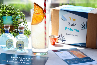 The Zola Cocktail Courier Kit invites the wedding hosts to welcome their guests with a specialty Tequila Don Julio cocktail - The Zola Paloma.