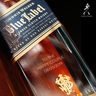 Johnnie Walker Blue Label, available for personalized engravings through Zola registry.
