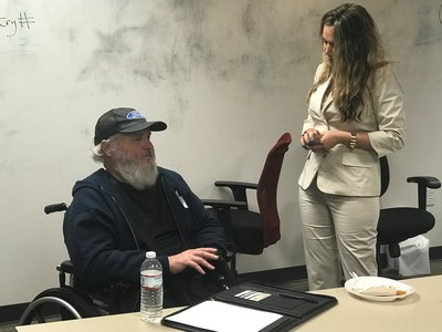 Army veteran Robert Gorman gains insight from an employer at a Wounded Warrior Project career counseling event in Jacksonville.
