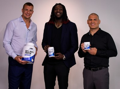 From left to right: New England all-pro tight-end Rob Gronkowski, L.A. pro basketball player Montrezl Harrell and two-time UFC® Heavyweight Champion Cain Velasquez.