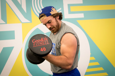 Fullback John Rush works out at a GoodLife Fitness Club, the new Official Fitness Club of the Winnpeg Blue Bombers (CNW Group/GoodLife Fitness)