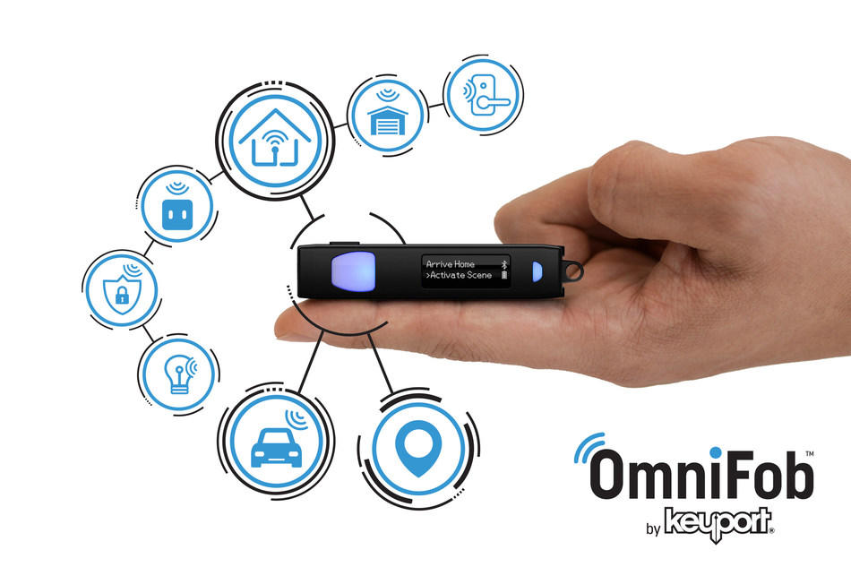OmniFob is a tiny life remote that provides quick and easy one-handed access to your favorite connected functions. Open your garage, unlock your door, turn on your lights, start your car, find your keys, call for help, and more all in one very smart fob that attaches easily to any conventional keychain and that is also compatible with Keyport's modular Slide 3.0, Pivot, and Anywhere Pocket Clip.