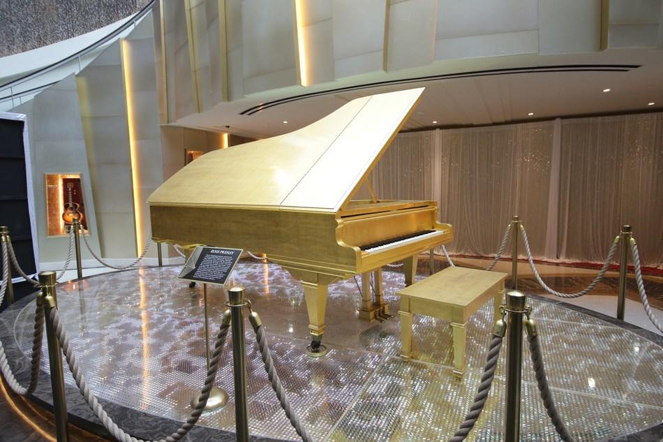 Elvis Presley's 24k Gold Leaf Grand Piano in the new entranceway of Seminole Hard Rock Hotel & Casino Tampa