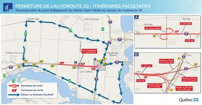 Fermeture de l'A-20 - Détours ou itinéraires facultatifs (Groupe CNW/Ministère des Transports)