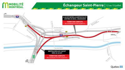 Fermeture A20 EST et échangeur St-Pierre, fin de semaine du 12 juillet (Groupe CNW/Ministère des Transports)