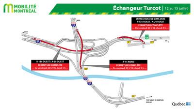 Fermetures dans l'échangeur Turcot, fin de semaine du 12 juillet (Groupe CNW/Ministère des Transports)