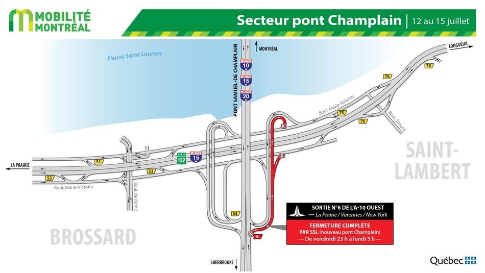 A10 OUEST, la sortie 6 à Brossard, fin de semaine du 12 juillet (Groupe CNW/Ministère des Transports)