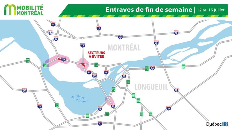 Carte générale des entraves, fin de semaine du 12 juillet (Groupe CNW/Ministère des Transports)