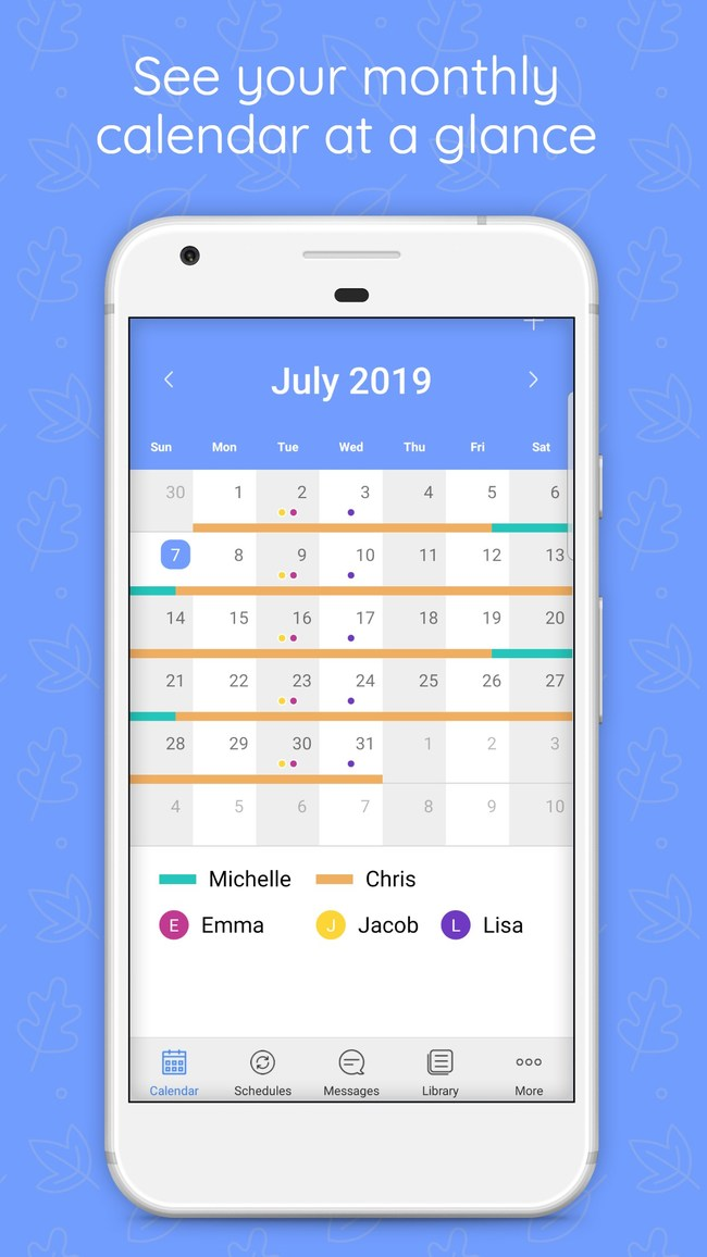 Monthly parenting calendar view on WeParent co-parenting app for Android