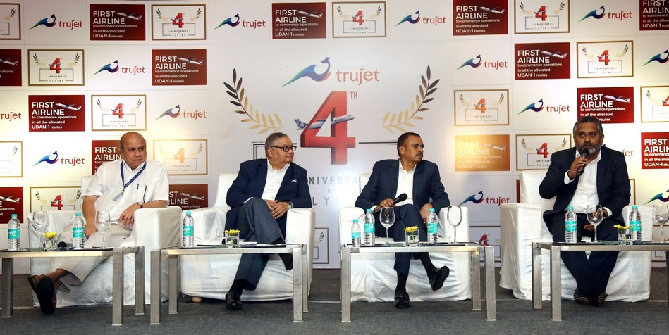 Trujet CFO Vishwanath speaking to the Media on the occasion of 4th Anniversary. On the dias (from right to left) K.V.Pradeep group director, Col. Murthy CEO, Sudheer Raghavan Chief Commercial Officer
