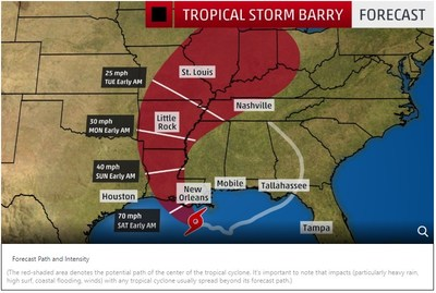 Tropical Storm Barry is expected to develop into a Category 1 hurricane early Saturday morning before it makes landfall along the Gulf Coast. C Spire is bolstering its network resources and mobilizing employees in case it needs to respond to the severe weather. - image courtesy of The Weather Channel