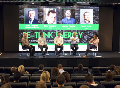 "Schneider Electrics hosts its inaugural ""Rethink Energy' event at Tottenham Hotspur FC. The panellists include (from left to right): David Joffe, Team Leader at the UK Committee on Climate Change (CCC); Ben Golding, Director, Energy Efficiency and Local, Department for Business, Energy & Industrial Strategy (BEIS), James Diggle, Head of Energy & Climate Change, the Confederation of British Industry (CBI), Mike Hughes, Zone President, Schneider Electric UK & Ireland, moderated by Sumit Bose, Editor and Co-Founder, Energy Live News. (PRNewsfoto/Schneider Electric UK)"