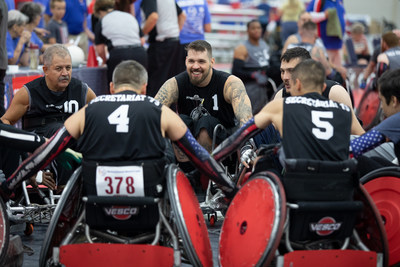 Wheelchair rugby athletes at the 39th National Veterans Wheelchair Games prepare to start competition.