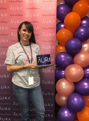Aura employee celebrates brand launch. iSubscribed and Intersections Inc. today announced that the combined business entity has been renamed Aura, uniting their respective brands Intrusta and Identity Guard®.